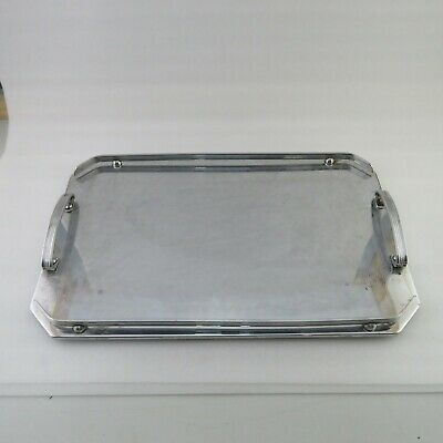 Ranleigh Art Deco Stainless Drink Serving Tray Breakfast Tray WOOD BASE