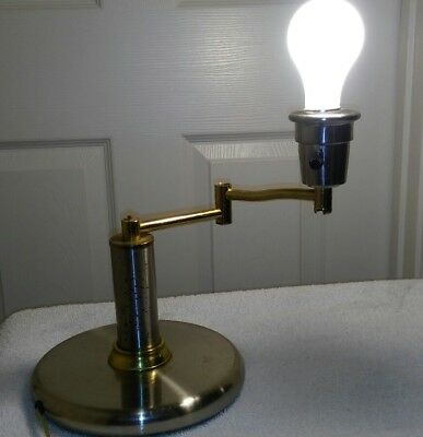 Vintage Piano Banker Swivel Arm Portable Desk Lamp Beautiful Brass  Silver Plate