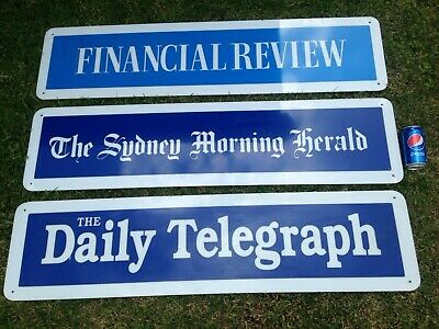 3 X Large Newspaper  Advertising Signs 120Mm X 30Mm Herald, Financial Review Tel