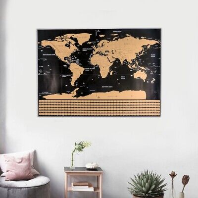 Scratch Off World Map Poster Journal Travel Log Map-Of The World Home Decor AU