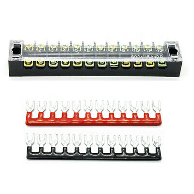 Terminal Block Fixed 12 Positions Dual Raw Safer Wire Connection 25A Universal