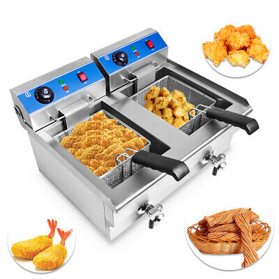 6KW Commercial Electric Countertop Deep Fryer Fish&Chip 2-Tank, 2-Basket 20L