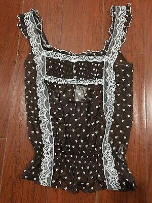 Bebe Nwt Womens Sz Small Brown/White Hearts Lace Front Straps Sheer Top