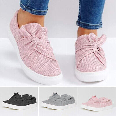 Womens Comfy Bowknot Plimsolls Slip On Flat Sneakers Pumps Shoes Trainers Casual