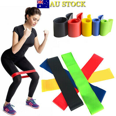 Resistance Thera-Band Elastic Yoga Physio Exercise Pilate Tube Loop Gym Fitness