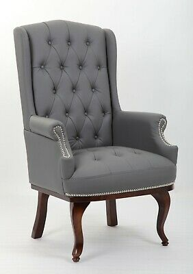 Winged Queen Anne High Back Fireside Wing Armchair Chair Bonded Leather Chair