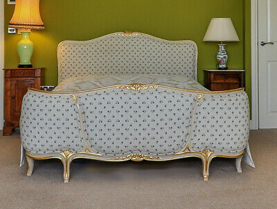 French Louis XV Style Carved Part Gilt Reupholstered Bed