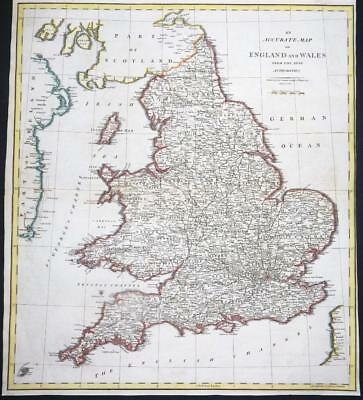 1805 Large Antique Map - ENGLAND & WALES John Cary hand coloured (LM12)
