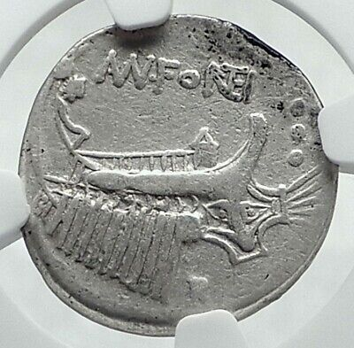 Roman Republic 108BC Rome DIOSCURI Gemini Galley Ancient Silver Coin NGC i78534