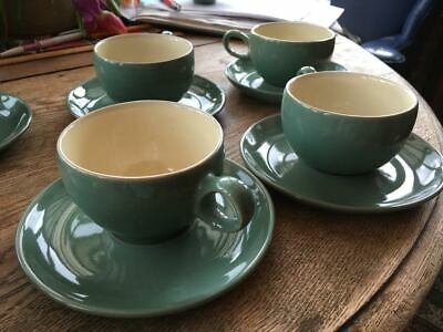 2 x Denby Manor Green cups and saucers