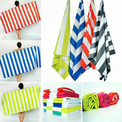 Extra Large Microfibre Beach Towels Striped Bath Towel Speed Dry Lightweight