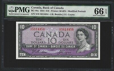 1954 Canada 10 Dollars, PMG 66 EPQ GEM UNC, BC-40a Modified, Beattie / Coyne