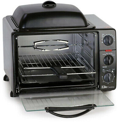 ELITE Griddle Top Toaster Oven with 5 Functions, Adjustable Temp Control, Black