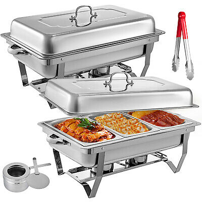2Pack Catering Stainless Steel Chafer Chafing Dish Sets +1/3 Inserts 8 QT Party