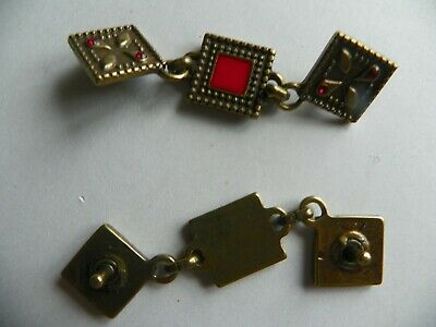 10 x TRIPLE LINKED SQUARE CONCHO 75 x 20 mm Antique Brass with red enamel NEW