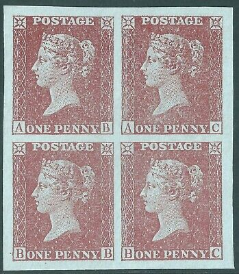 Penny Red Block Of 4     Blued Paper    ( Ormskirk Forgeries )