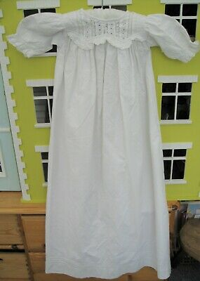 Victorian Baby Christening Gown or Night Gown White Cotton Doll – B
