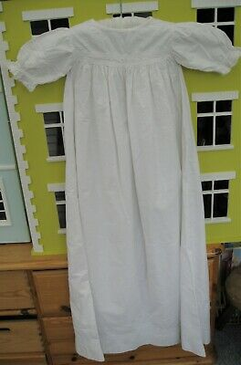 Victorian Baby Christening Gown or Night Gown White Cotton Doll – C