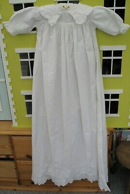 Victorian Baby Christening Gown or Night Gown White Cotton Doll – D