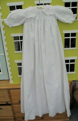 Victorian Baby Christening Gown or Night Gown White Cotton Doll – E