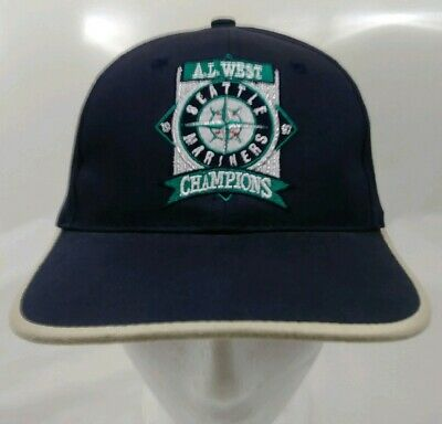 be66cb256a Vintage 1997 Seattle Mariners A.L. West Champions Blue Snapback Cap Hat MLB