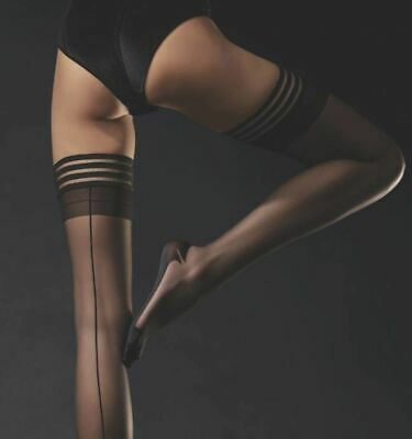 Plus Size Femme Fatale  Seamed Patterned Hold Up Stockings 20 Denier by Fiore