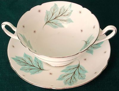 Shelley DRIFTING LEAVES Bone China Double Handled Cream Soup Cup & Under Plate