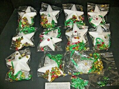 Lot of Vintage Sequins Stars Christmas Ornament Kit 10PC LOT NEW IN Package