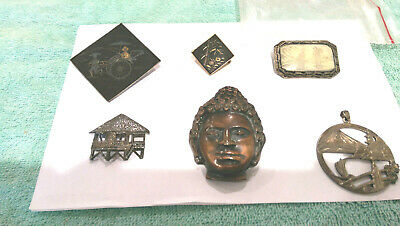 Vintage LOT of 6# Asia inspired designed Brooch Pins, Beautiful  Large ornate,.