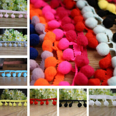 1/5 Yards Pom Pom Trim Plush Ball Lace Trimming Edge DIY Crafts Upholstery Decor