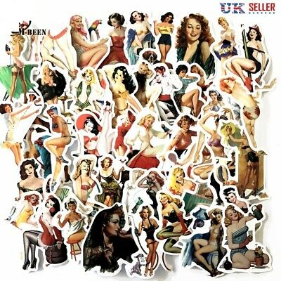 50 Piece Pin-up Girl Stickers, Vintage Retro Women Sexy Beauty Pinup - UK