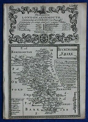 Original antique county map, BUCKINGHAMSHIRE, E. Bowen, c.1724