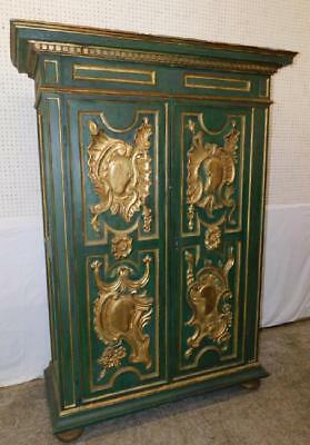 Antique  Italian Carved Wood Green Paint and gold leaf decorated Armoire cabinet