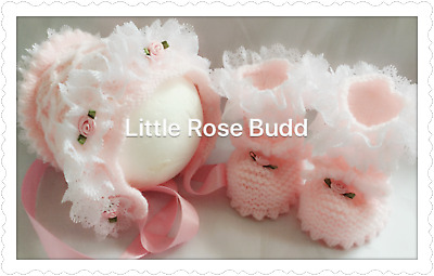 0bf196a06 HAND KNITTED BABY Girls Bonnet / Hat (5 sizes) PINK - $6.68 | PicClick
