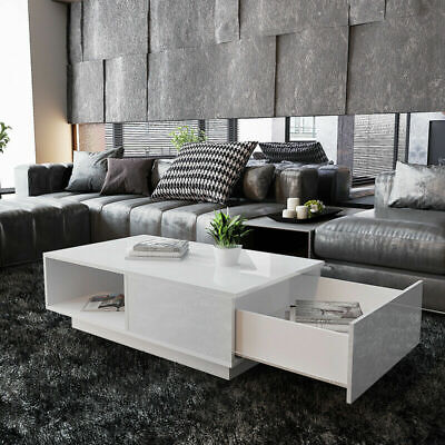 Modern High Gloss Coffee Table With 1 Drawer Storage White Living Room Furniture