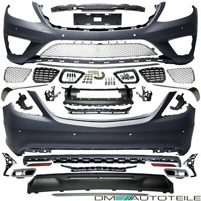 Mercedes W222 Chrome Edition Bodykit Bumper Front + Rear +Pipes fits on S65 AMG