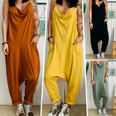 Womens Cami Strappy Loose Jumpsuit V Neck Summer Harem Long Playsuit Trousers