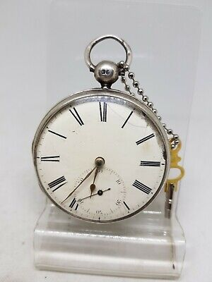 Antique solid silver gents fusee Geo. Fisher pocket watch 1872 working ref561
