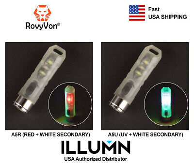 Rovyvon Aurora A5 Glow in the Dark Rechargeable Keychain Flashlight (UV or Red)
