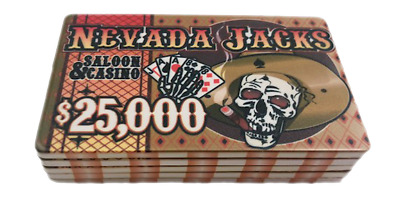 Nevada Jack $25,000 ceramic poker chip plaque set of 5 NEW Free US Shipping