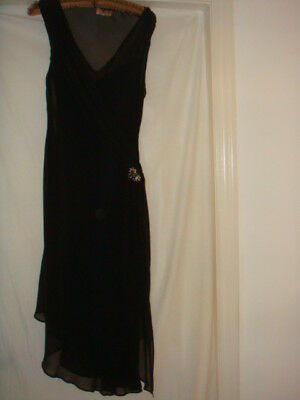 NEW Maria Grachvogel Black Silk Designer Dress Size 14