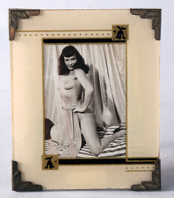Cool Vintage Art Deco Machine Age Easel Back Reverse Painted Picture Frame Pinup