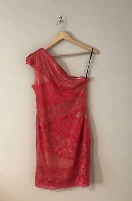 Bebe Coral/Pink One Shoulder Lace Floral Bodycon Dress Women's Size Large