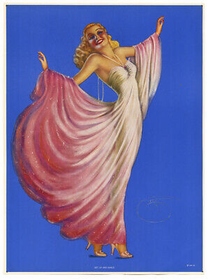 1940s Billy Devorss Pin-Up Print Get Up and Dance Glamorous Blonde Art Deco