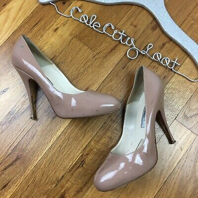 Brian Atwood Nude Patent Leather Pumps Heels Shoes Flaws