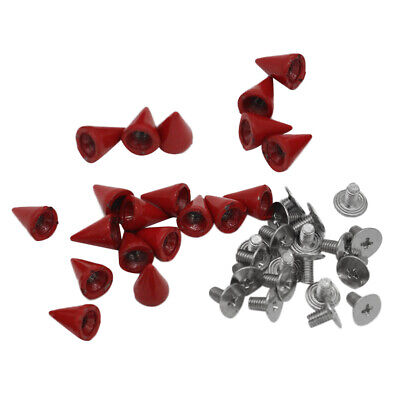 20Pcs Red Metal Studs Rivet Bullet Spike Cone Screw for Leather Craft 7x10mm