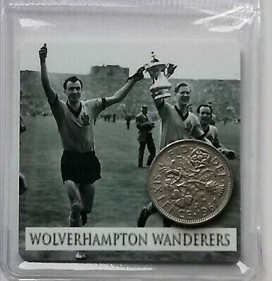 Wolves Football card with Lucky Sixpence. Ideal Birthday Gift