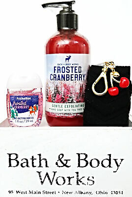 Bath and Body Works Frosted Cranberry Hand Soap, PocketBac & Cherry Case Holder