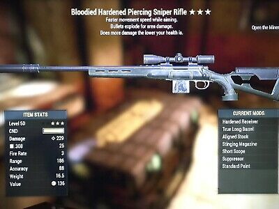Fallout 76 weapon PS4 - Bloodied Explosive Sniper Rifle