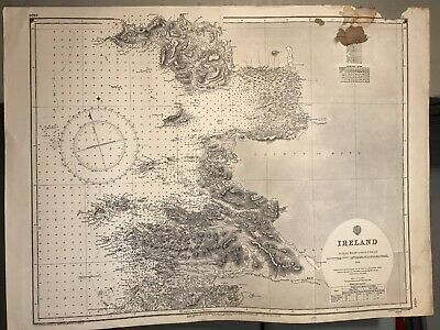 Ireland East Coast Navigational Chart Hydrographic Map # 2420 Achill Slyne 1955